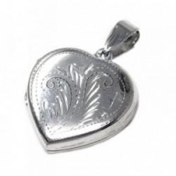 Colgante guardapelo plata Ley 925m corazón 21mm. tallado [AB6037]