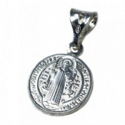 Medalla plata Ley 925m San Benito 15mm. doble cara circular [AB6039]