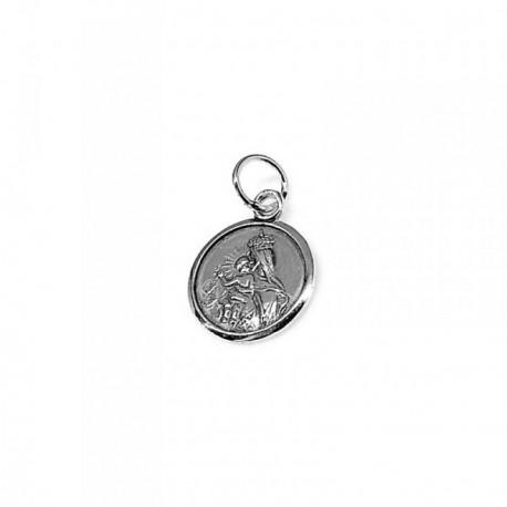 Colgante plata Ley 925m medalla Virgen Carmen 15mm. [AB1531GR]