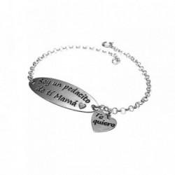 Pulsera plata Ley 925m chapa motivo corazón [AB1490GR]