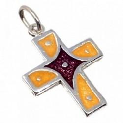 Cruz plata Ley 925m esmaltada amarilla violeta 19mm.  [AB5207]