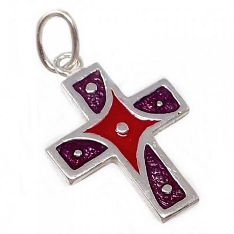 Cruz plata Ley 925m esmaltada 19mm. violeta roja [AB5208]