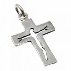 Cruz plata Ley 925m silueta Cristo calado 25mm. [AB5225]