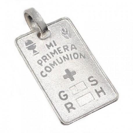 Chapa colgante plata Ley 925m cruz MI PRIMERA COMUNIÓN 24mm. grupo sanguíneo GS RH rectangular