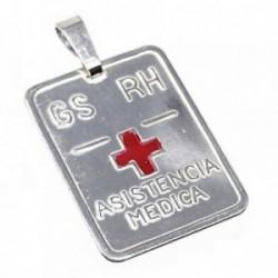 Chapa plata Ley 925m rectangular cruz roja 24mm. grupo  [AB5228GR]