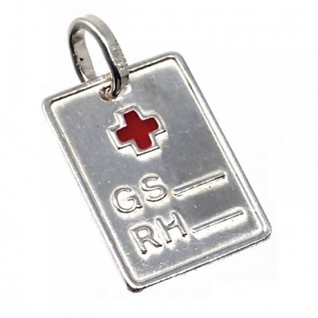 Chapa plata Ley 925m rectangular cruz roja 18mm. grupo  [AB5229GR]
