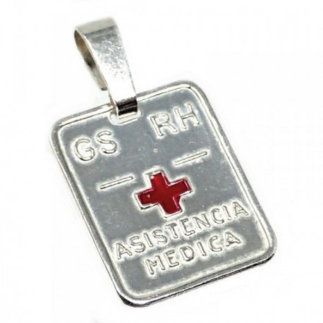Chapa plata Ley 925m cruz roja 16mm. grupo sanguíneo [AB5230GR]