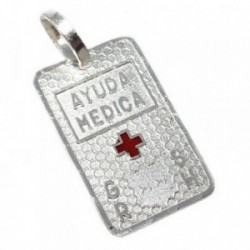 Chapa plata Ley 925m estampada cruz roja 20mm. grupo  [AB5535]