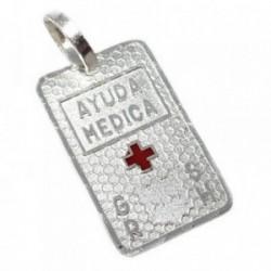 Chapa plata Ley 925m estampada cruz roja 20mm. grupo  [AB5535GR]