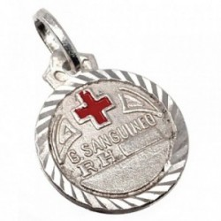 Chapa plata Ley 925m redonda cruz roja 16mm. filo labrado [AB5539]