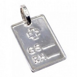 Chapa plata Ley 925m brillo cruz 18mm. grupo sanguíneo [AB5540]