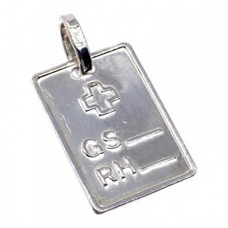 Chapa plata Ley 925m brillo cruz 18mm. grupo sanguíneo [AB5540GR]