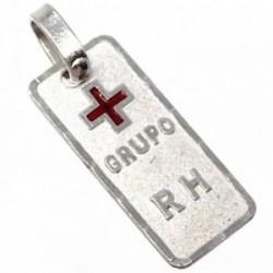 Chapa plata Ley 925m rectángulo cruz roja 18mm. filo tallado [AB5541]