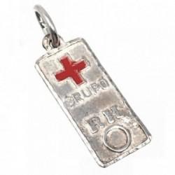 Chapa plata Ley 925m cruz roja 18mm. grupo sanguíneo [AB5543]