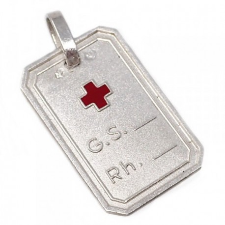 Chapa plata Ley 925m cruz roja 19mm. grupo sanguíneo [AB5545]