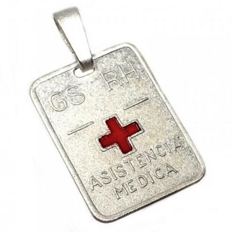 Chapa plata Ley 925m cruz roja 19mm. grupo sanguíneo [AB5546]