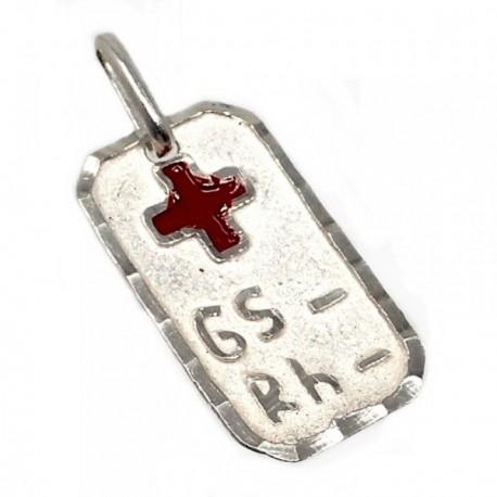 Chapa plata Ley 925m cruz roja 21mm. grupo sanguíneo [AB5548GR]