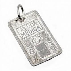 Chapa plata Ley 925m cruz 20mm. grupo sanguíneo [AB5549]