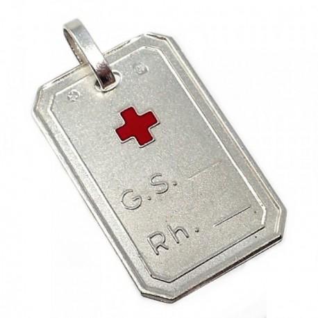 Chapa plata Ley 925m cruz roja 22mm. grupo sanguíneo [AB5602]