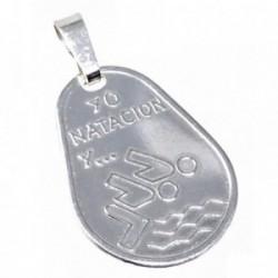 Chapa plata Ley 925m oval 23mm. YO NATACIÓN Y... [AB5603]