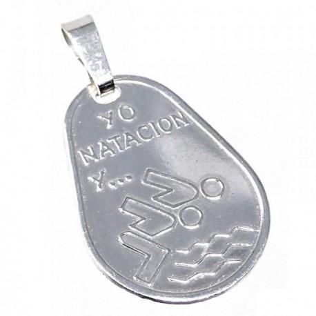 Chapa plata Ley 925m oval 23mm. YO NATACIÓN Y... [AB5603GR]