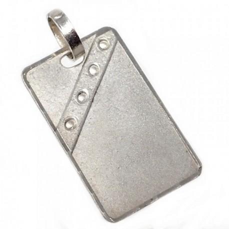 Chapa plata Ley 925m oxidada banda círculos 23mm. [AB5611]