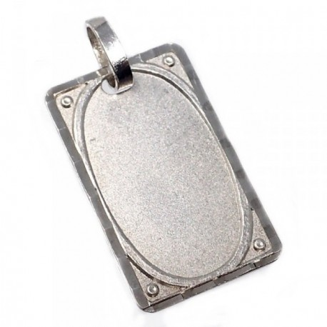 Chapa plata Ley 925m mate borde tallado 23mm. [AB5613GR]