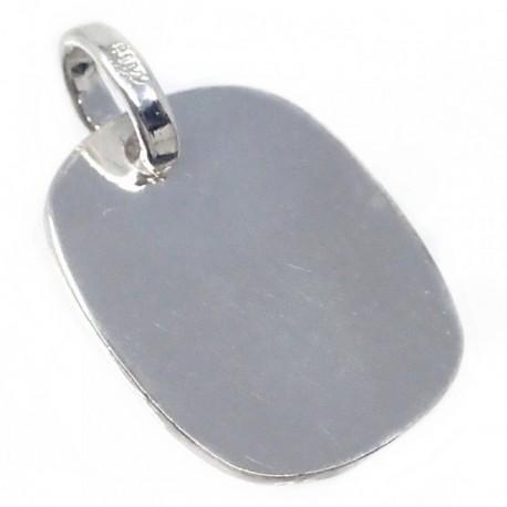 Chapa plata Ley 925m cuadrada 17mm. bordes redondos [AB5614]