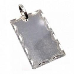 Chapa plata Ley 925m lisa 30mm. filo tallado [AB5615GR]