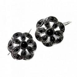 Pendientes plata Ley 925m oxidados flor piedras negras  [AB5234]