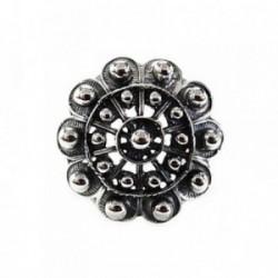 Sortija plata Ley 925m oxidada motivo charro cuerpo abierto [AB5242]