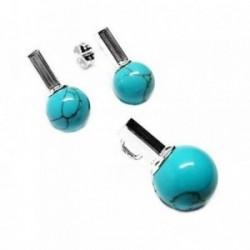 Juego plata Ley 925m bola azul [AB5253]