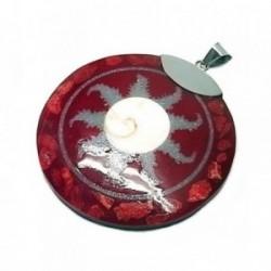 Colgante plata Ley 925m concha 55mm. roja [AB5255]