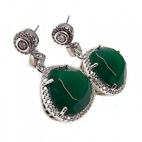 Pendientes plata Ley 925m rodiados 33mm. piedra color verde [AB5264]