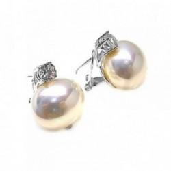 Pendientes plata Ley 925m perla shell piedra circonita [AB5284]
