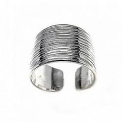 Sortija plata Ley 925m lisa oxidada cuerpo abierto [AB5292]