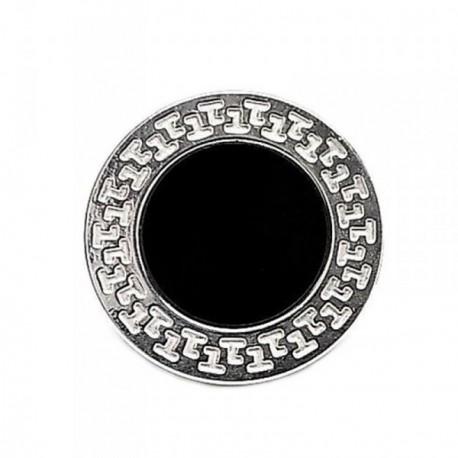 Sortija plata Ley 925m greca ajustable nácar negro [AB5299]
