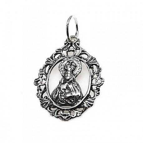 Colgante plata Ley 925m medalla Virgen del Mar [AB5305]