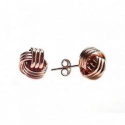Pendientes plata Ley 925m nudo chapado rosa [AB5315]