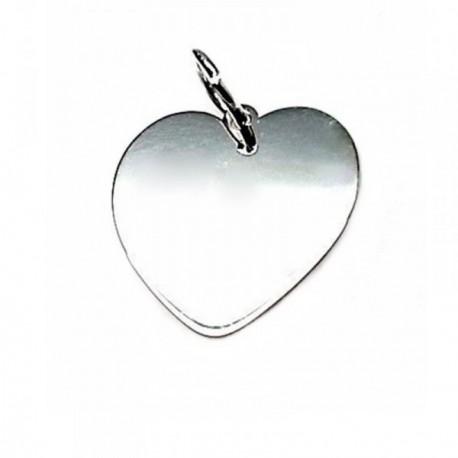 Colgante plata Ley 925m chapa corazón 18mm. liso [AB5330GR]