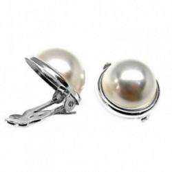 Pendientes plata Ley 925m media perla bocel 14mm. [AB5340]