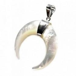 Colgante plata Ley 925m luna invertida cuernos 28mm. nácar blanco centro liso
