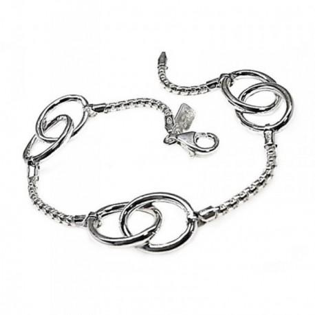Pulsera plata Ley 925m 19cm. motivos ovalados cadena coreana [AB5347]