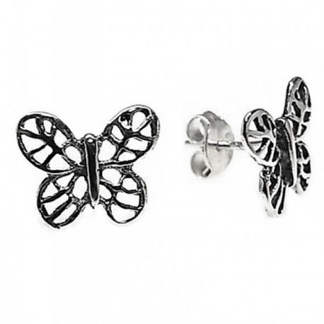 Pendientes plata Ley 925m motivo mariposa oxidada calada [AB5349]