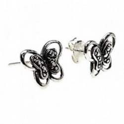 Pendientes plata Ley 925m motivo mariposa oxidada [AB5350]