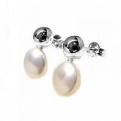 Pendientes plata Ley 925m media bola lisa perla sintética [AB5351]
