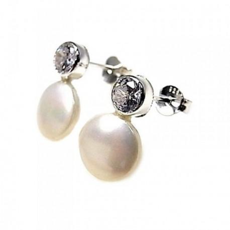 Pendientes plata Ley 925m chatón 5mm. perla sintética 9mm. [AB5352]