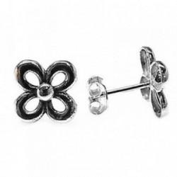 Pendientes plata Ley 925m flor oxidada 10mm. calados [AB5356]
