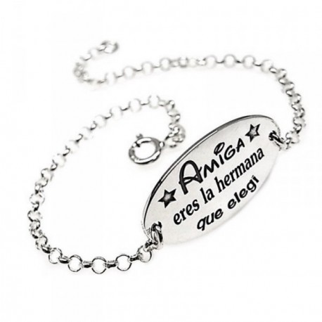 Pulsera plata Ley 925m 18.5cm. cadena rolo chapa oval frase [AB5361]