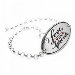 Pulsera plata Ley 925m 18cm. chapa LOVE YOU FOREVER [AB5368]